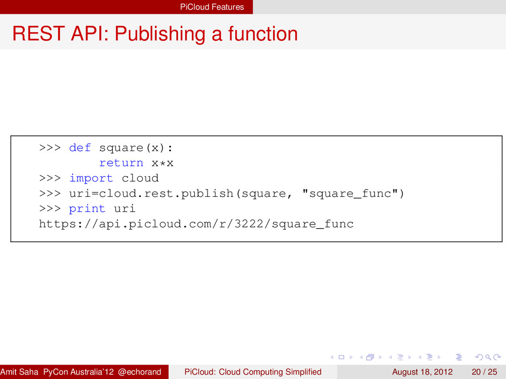 PiCloud Features REST API: Publishing a functio...