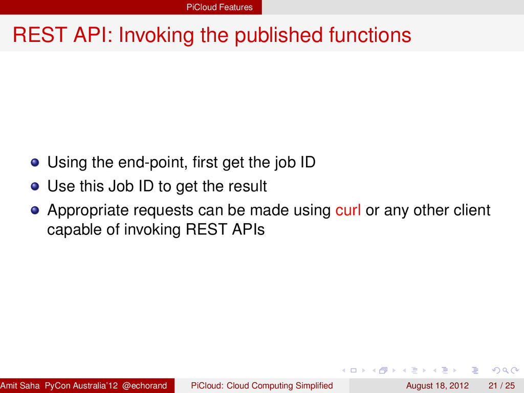 PiCloud Features REST API: Invoking the publish...