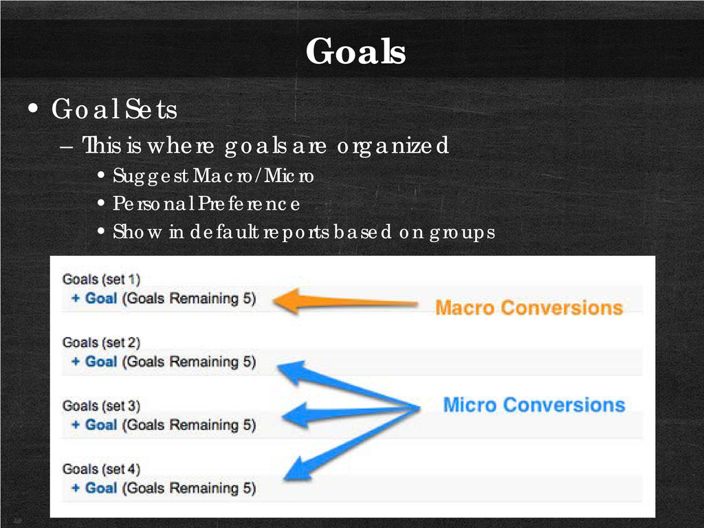 Goals • Goal Sets – This is where goals are org...