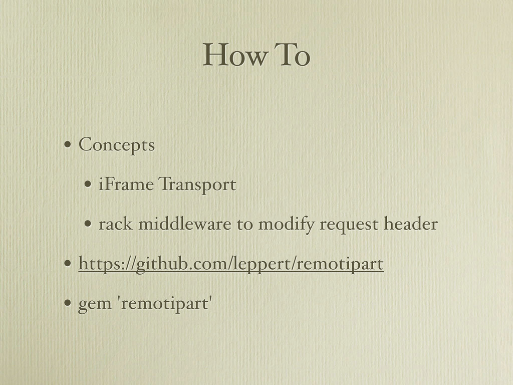 How To • Concepts • iFrame Transport • rack mid...
