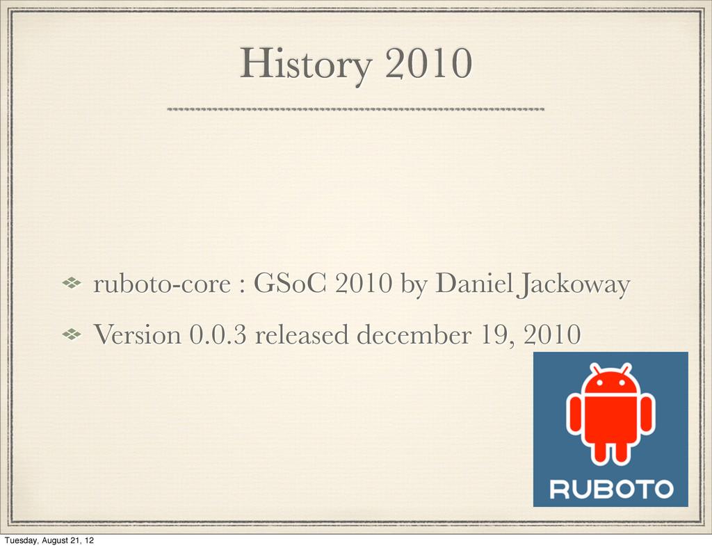 History 2010 ruboto-core : GSoC 2010 by Daniel ...