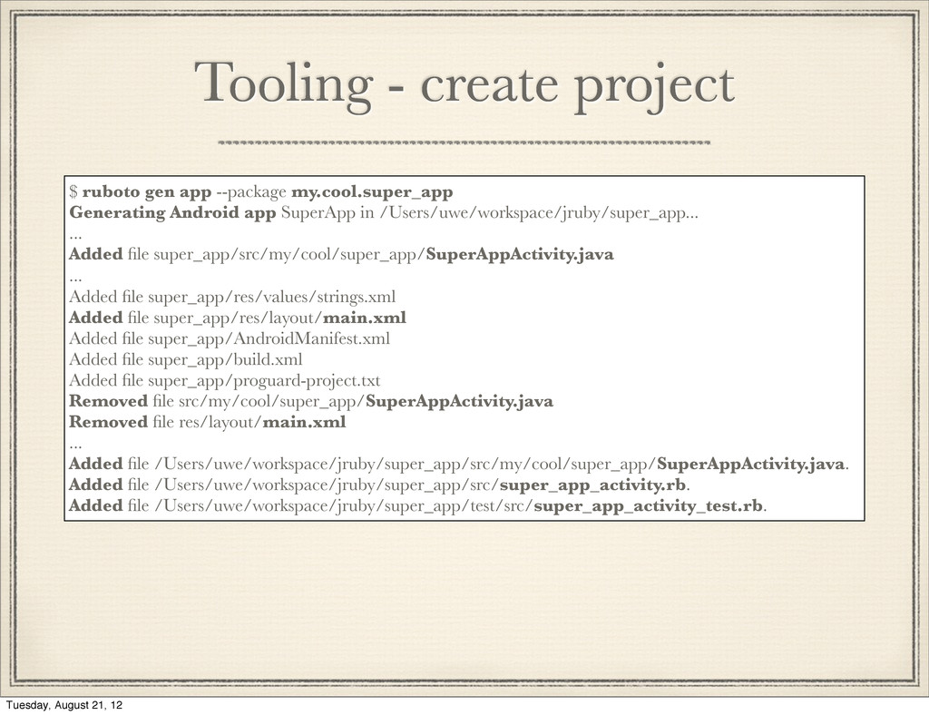 """Tooling - create project The """"ruboto"""" command r..."""