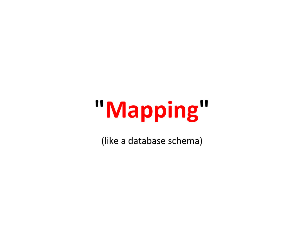 """""""Mapping"""" (like a database schema)"""