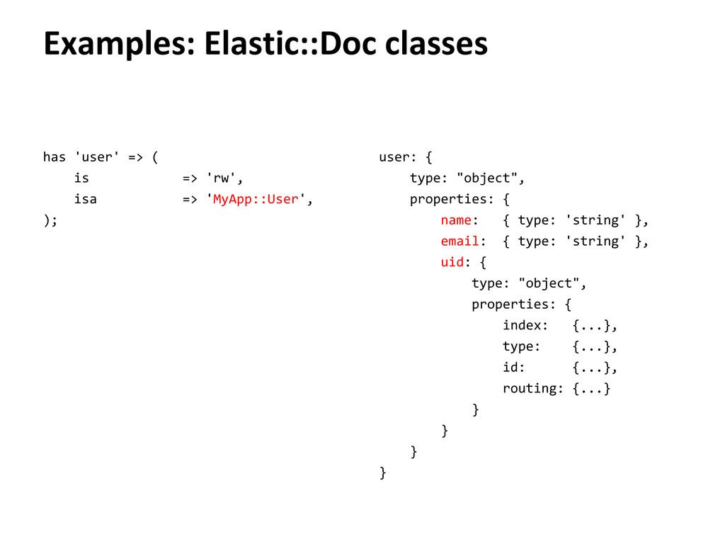Examples: Elastic::Doc classes has 'user' => ( ...