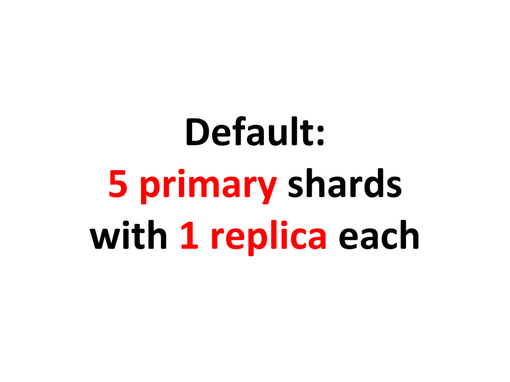 Default: 5 primary shards with 1 replica each