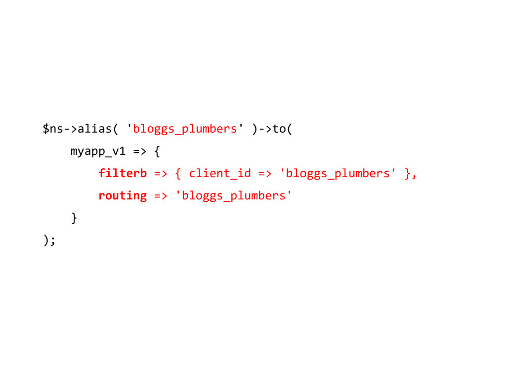 $ns->alias( 'bloggs_plumbers' )->to( myapp_v1 =...