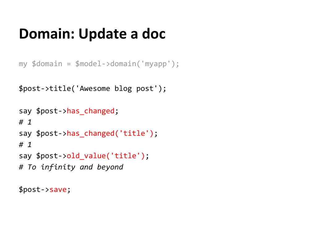 Domain: Update a doc my $domain = $model->domai...