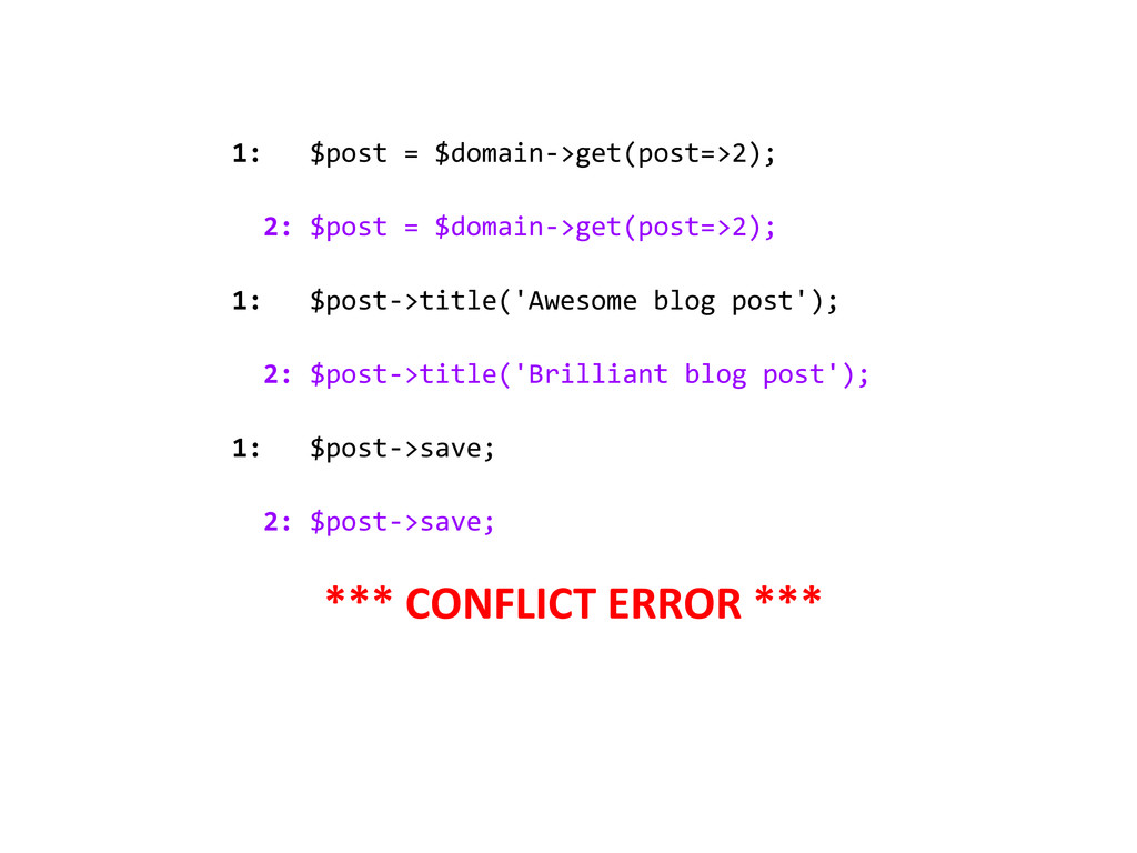 1: $post = $domain->get(post=>2); 2: $post = $d...