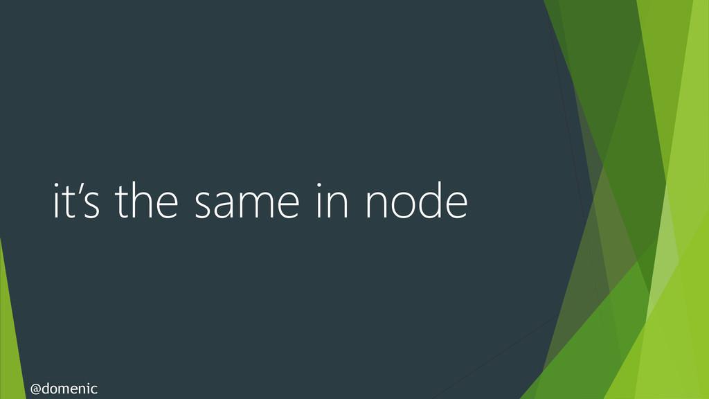it's the same in node @domenic