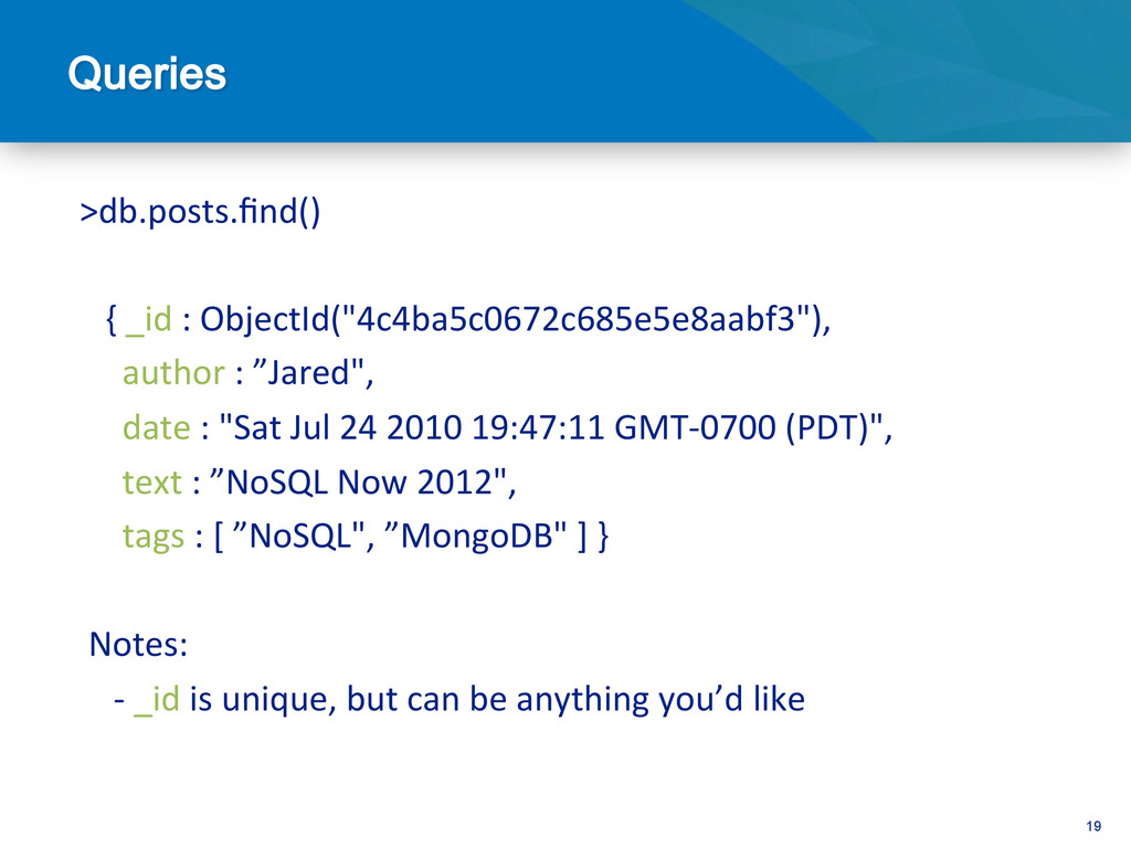 19  >db.posts.find()        ...