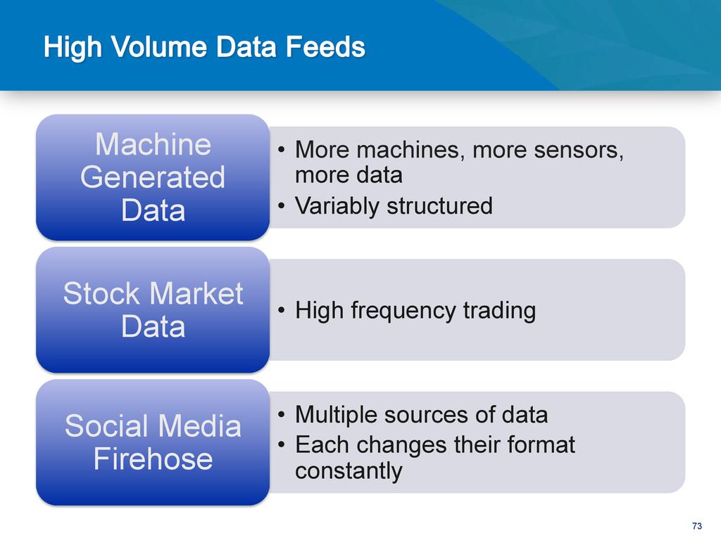73 • More machines, more sensors, more data •...