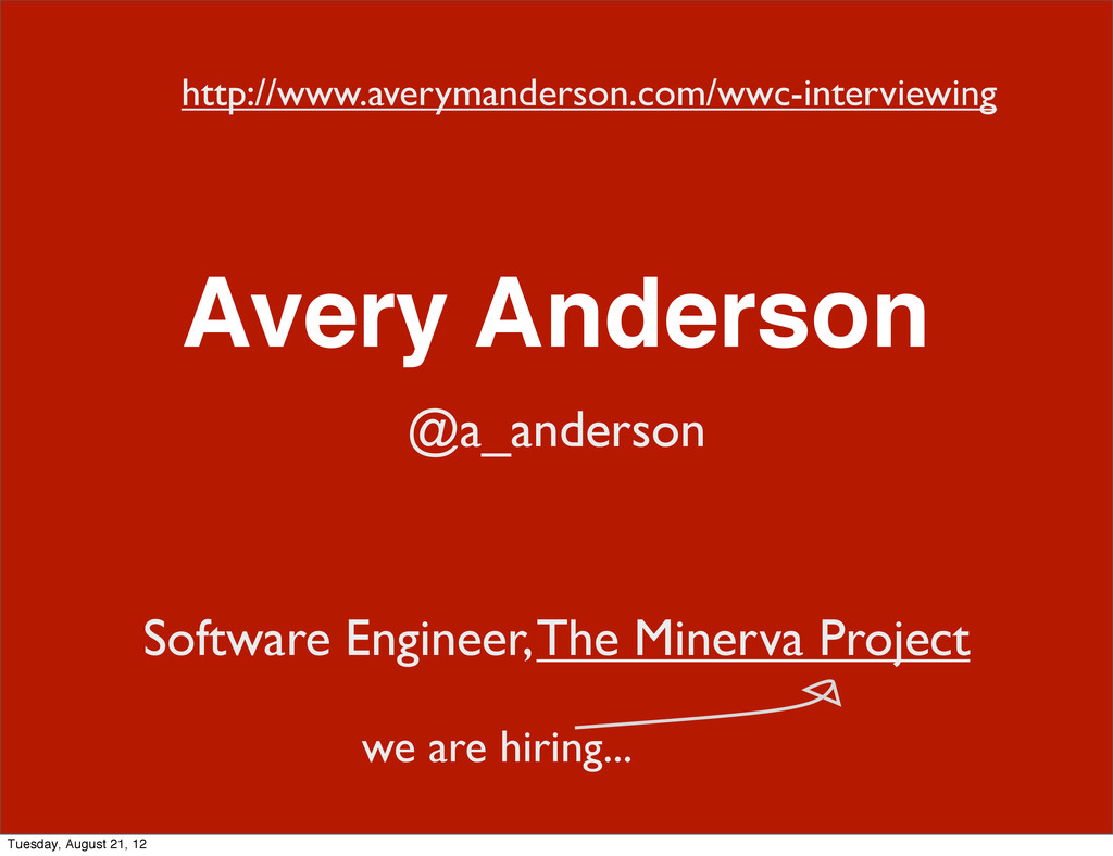 Avery Anderson @a_anderson Software Engineer, T...