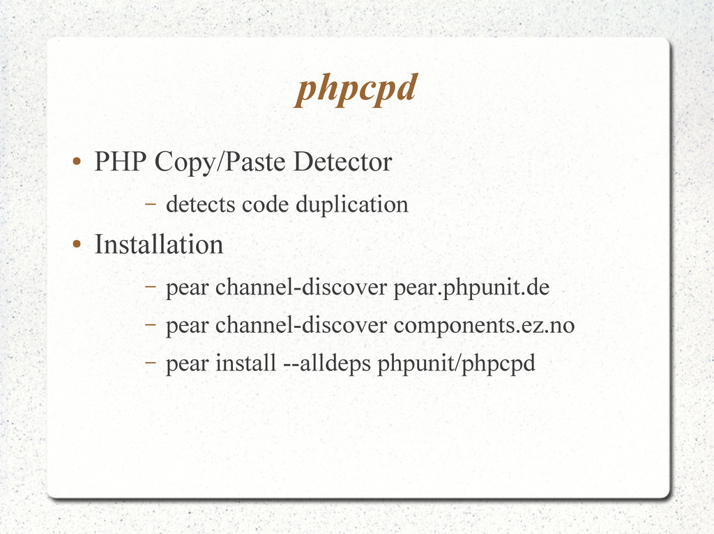 phpcpd ● PHP Copy/Paste Detector – detects code...