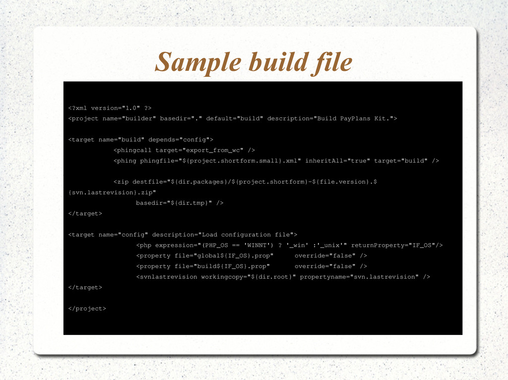 """Sample build file <?xml version=""""1.0"""" ?> <proje..."""