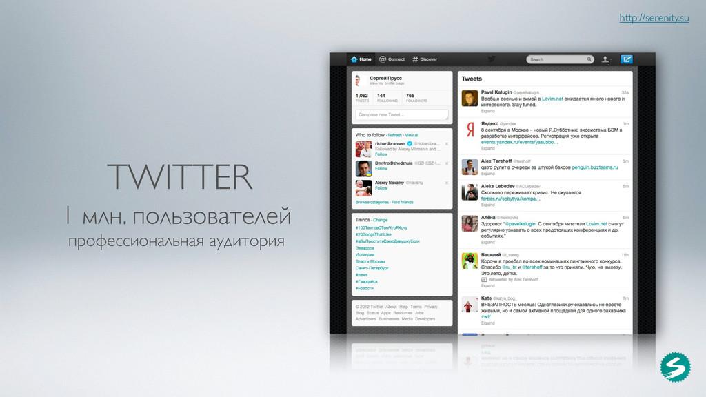 TWITTER 1 млн. пользователей профессиональная а...