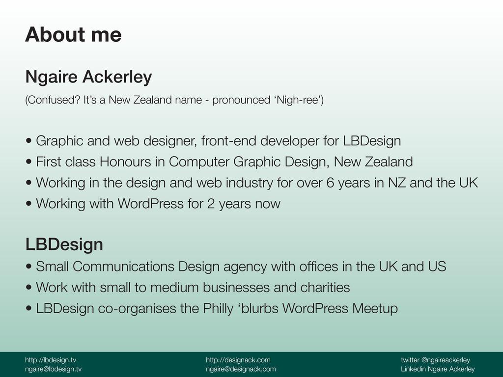 http://lbdesign.tv ngaire@lbdesign.tv http://de...