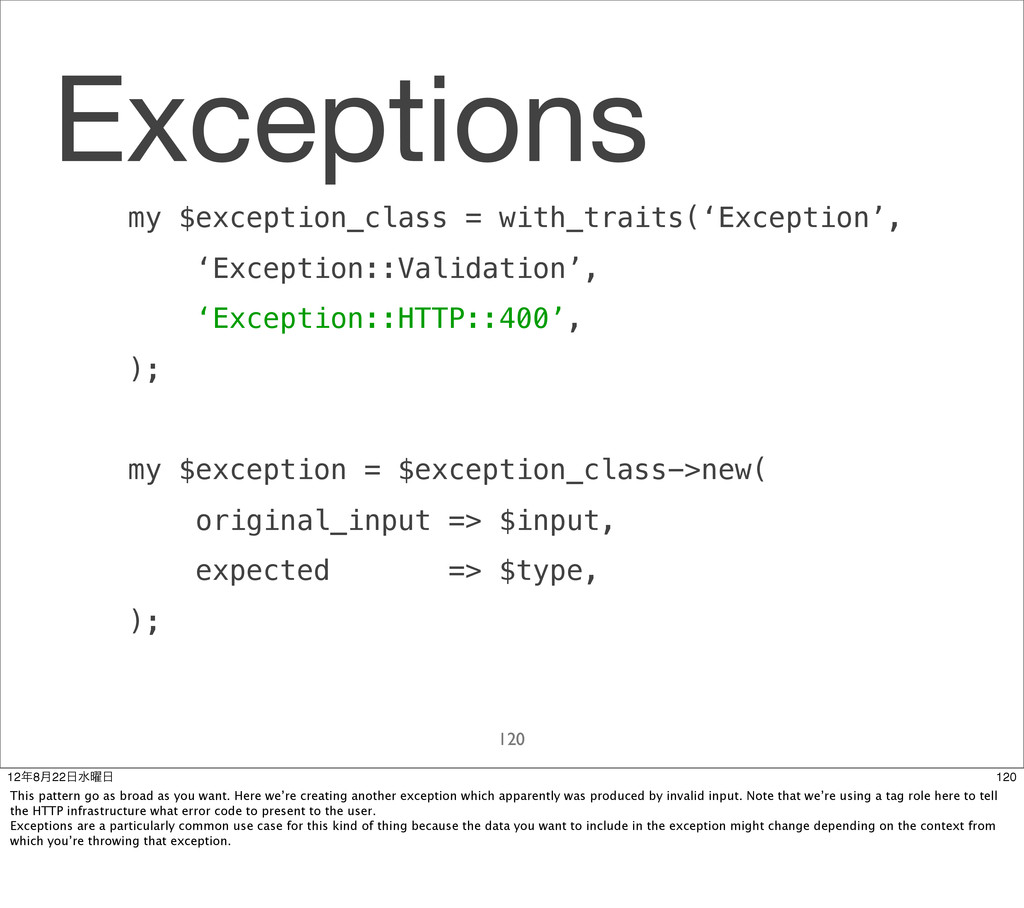 Exceptions my $exception_class = with_traits('E...