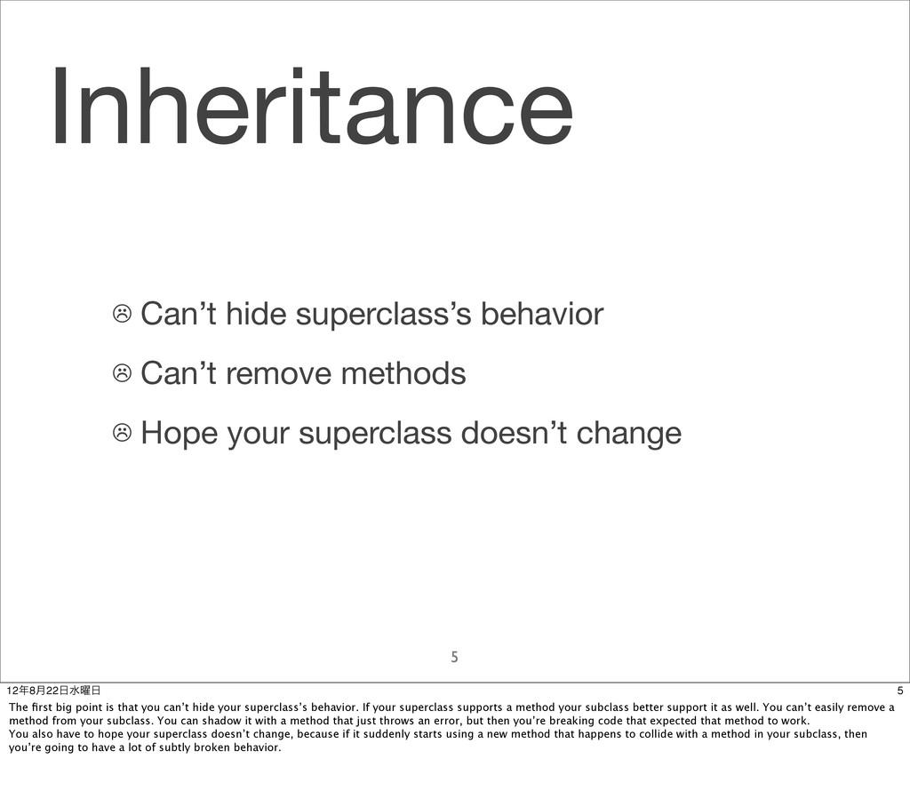 Inheritance 5 ☹ Can't hide superclass's behavio...