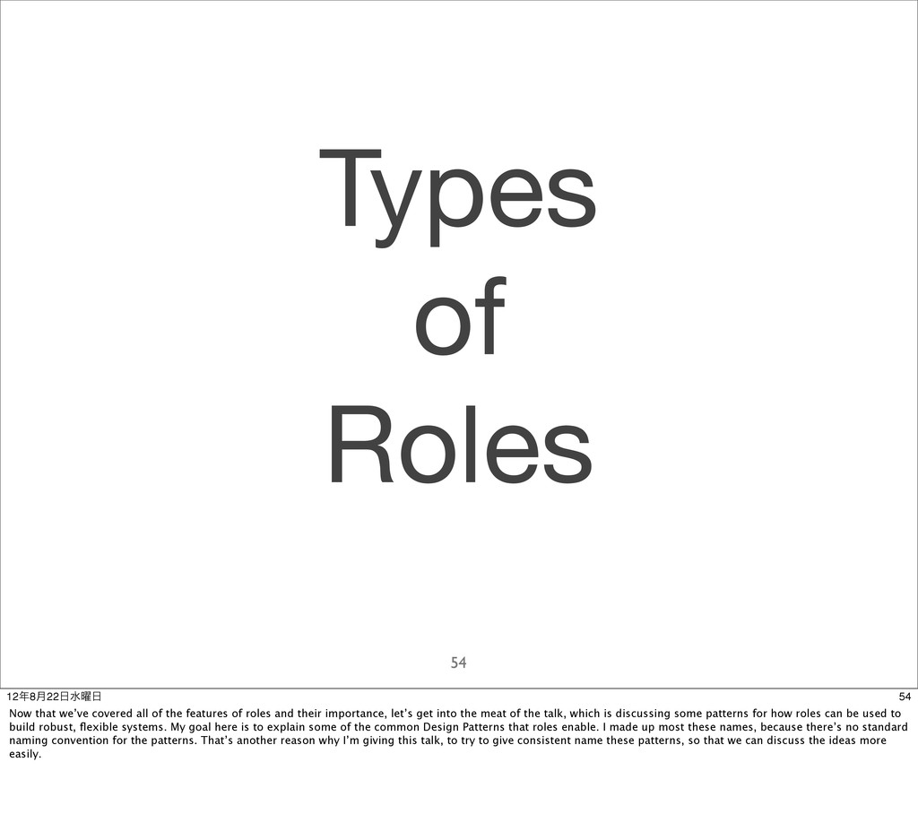 Types of Roles 54 54 128݄22ਫ༵ Now that we've...
