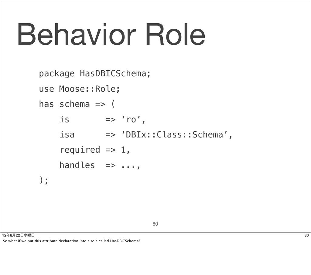 Behavior Role 80 package HasDBICSchema; use Moo...