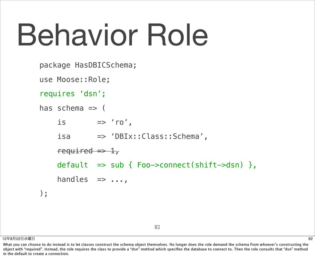 Behavior Role 82 package HasDBICSchema; use Moo...
