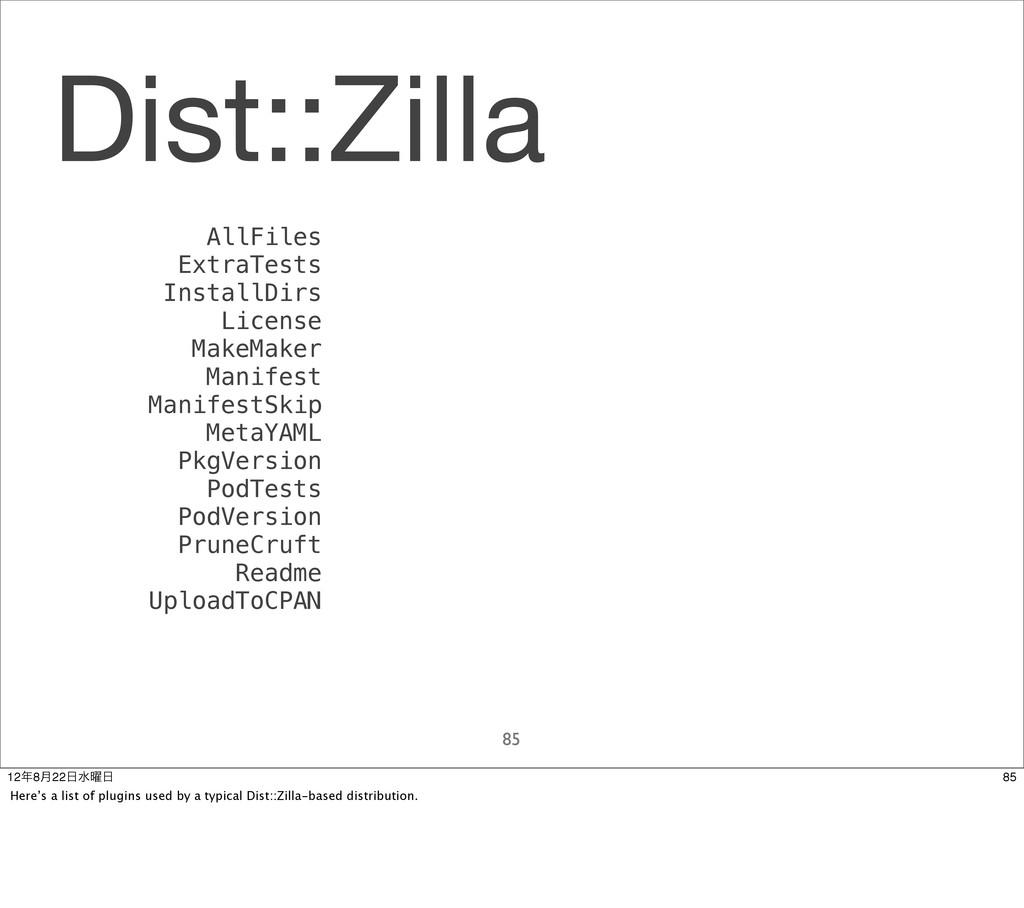 Dist::Zilla 85 AllFiles ExtraTests InstallDirs ...