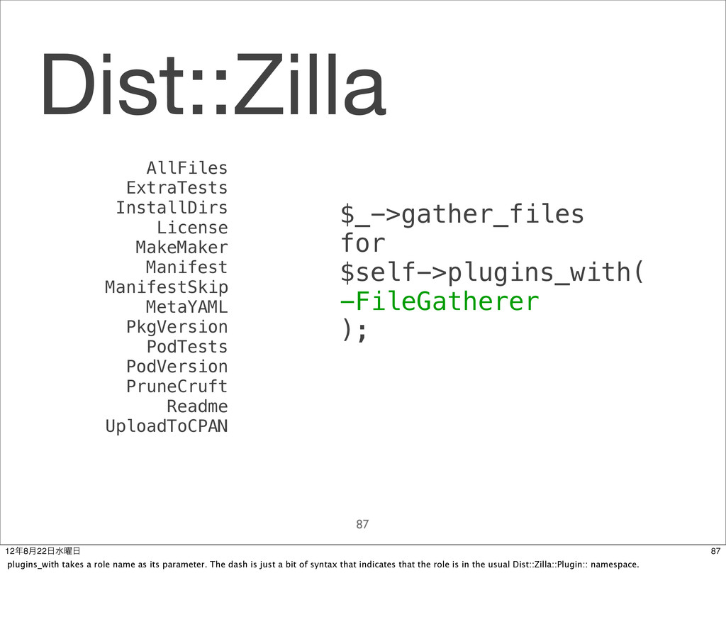 Dist::Zilla 87 AllFiles ExtraTests InstallDirs ...