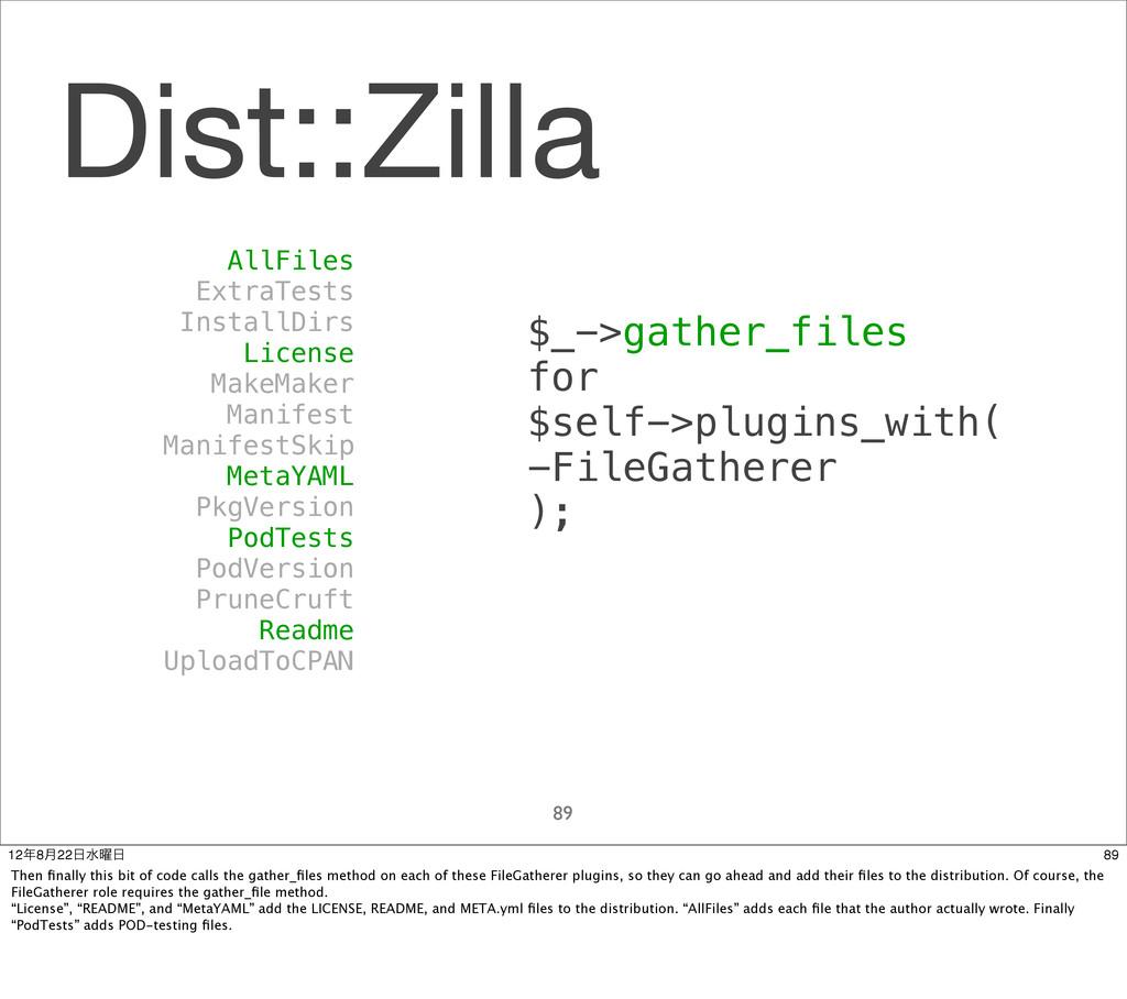 Dist::Zilla 89 AllFiles ExtraTests InstallDirs ...