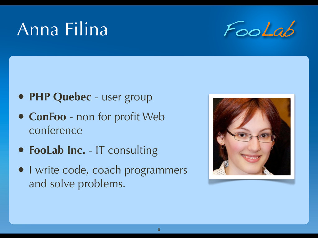 FooLab Anna Filina 2 • PHP Quebec - user group ...