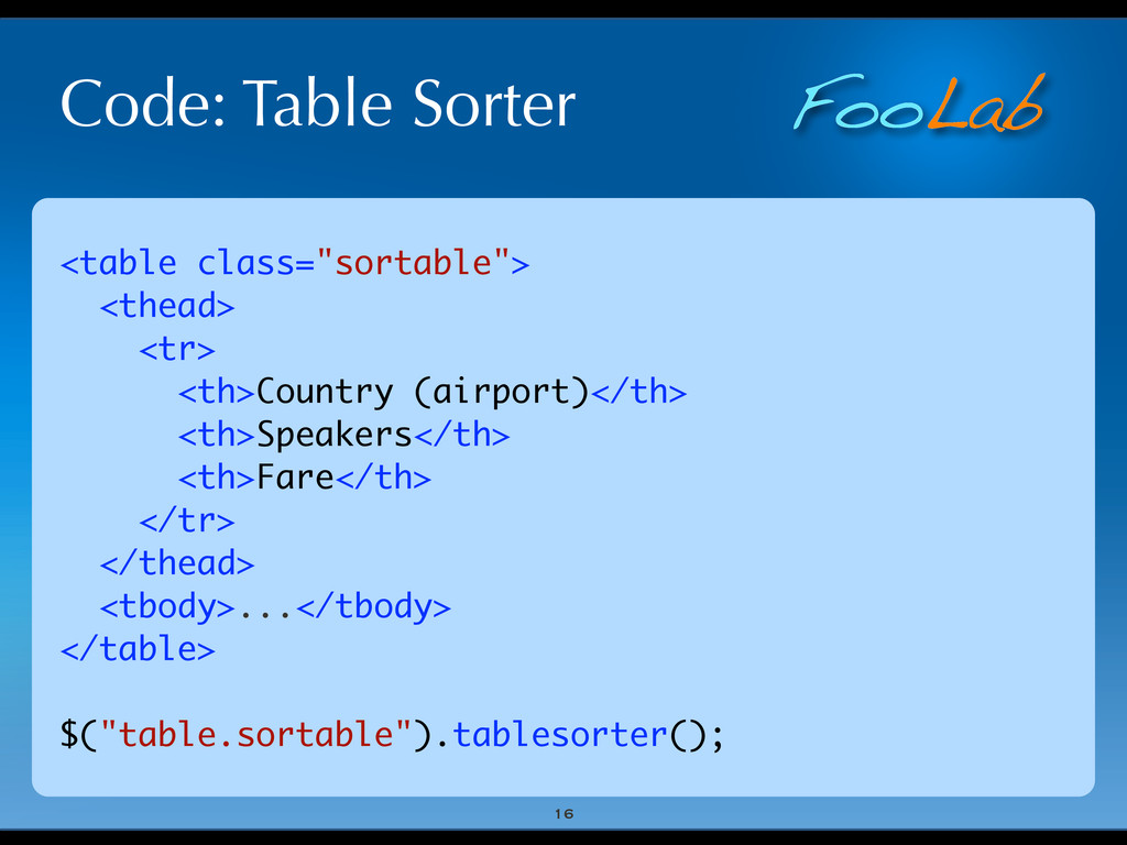 "FooLab Code: Table Sorter 16 <table class=""sort..."