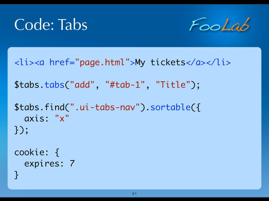 """FooLab Code: Tabs 21 <li><a href=""""page.html"""">My..."""