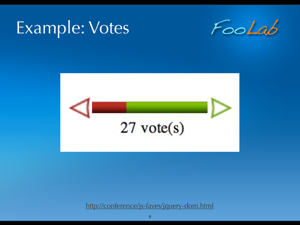 FooLab Example: Votes 5 http://conference/js-fa...