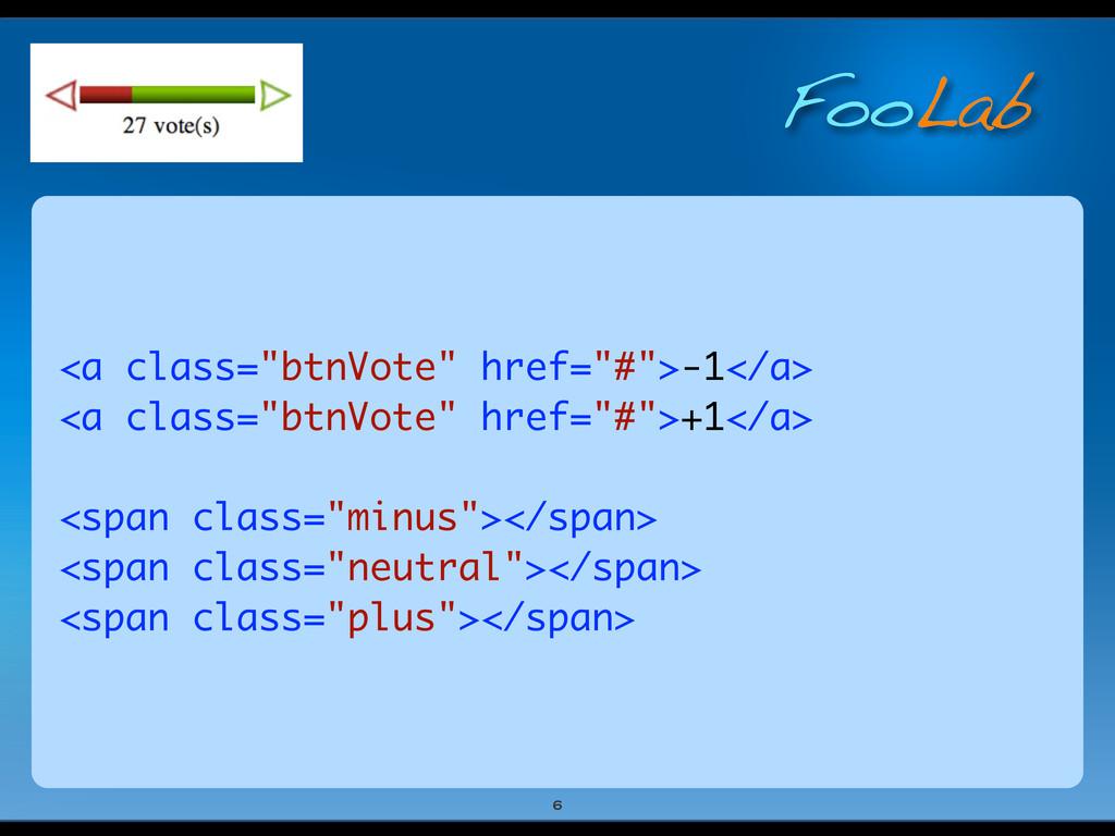 "FooLab <a class=""btnVote"" href=""#"">-1</a> <a cl..."