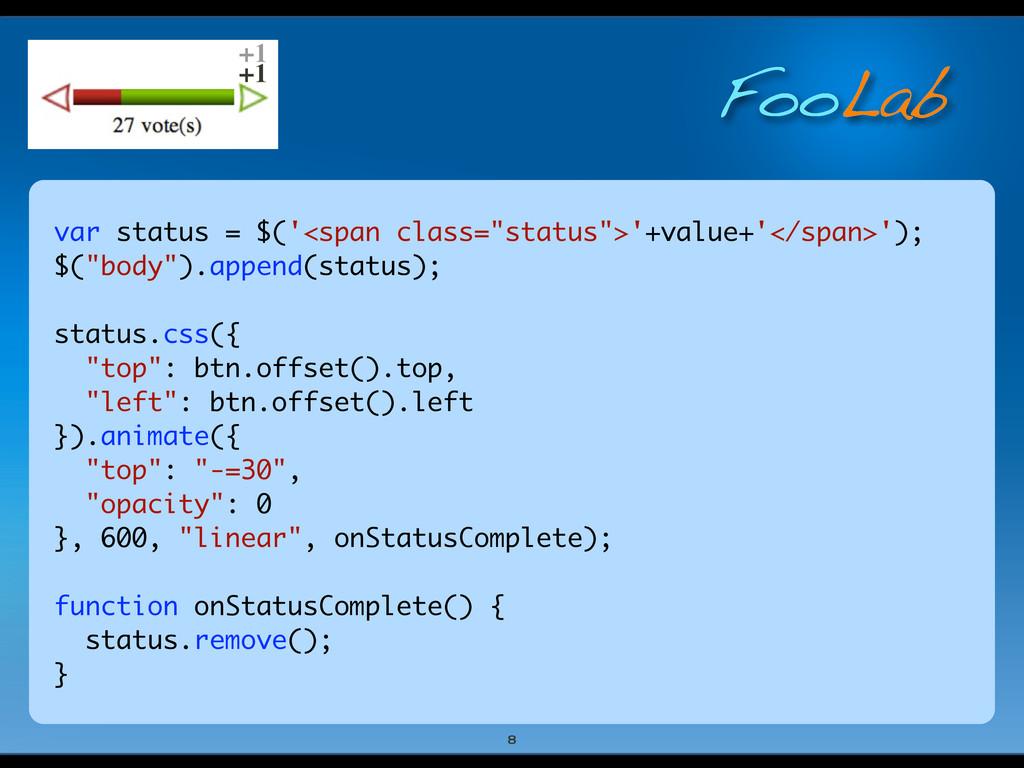 """FooLab var status = $('<span class=""""status"""">'+v..."""