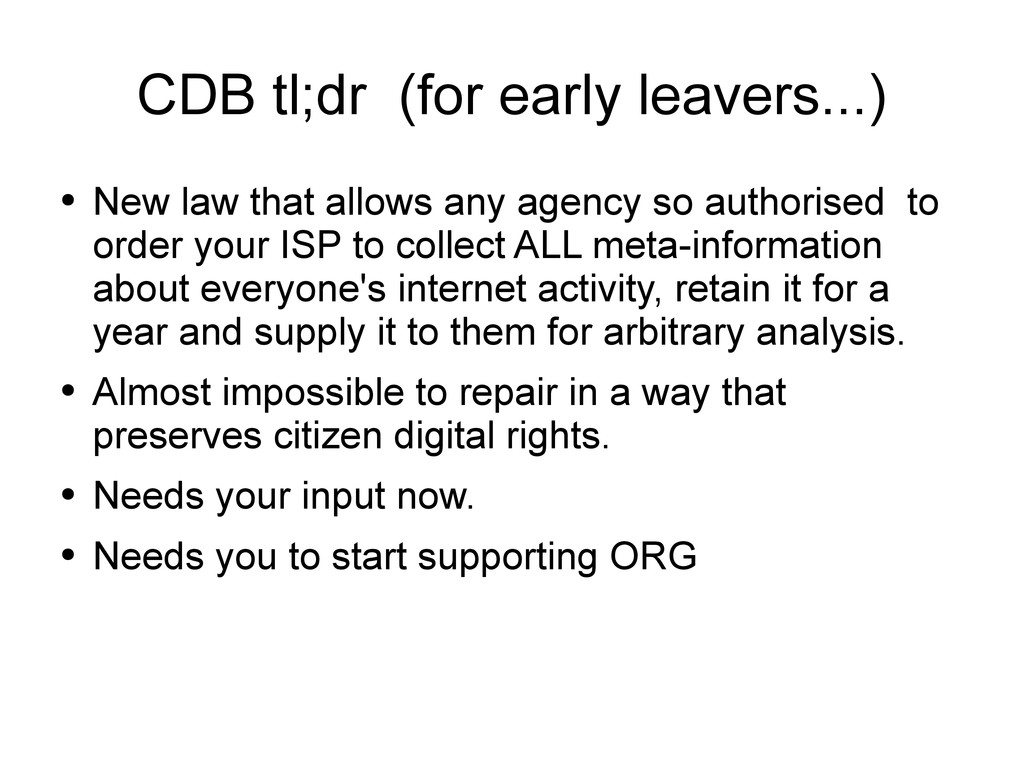 CDB tl;dr (for early leavers...) ● New law that...