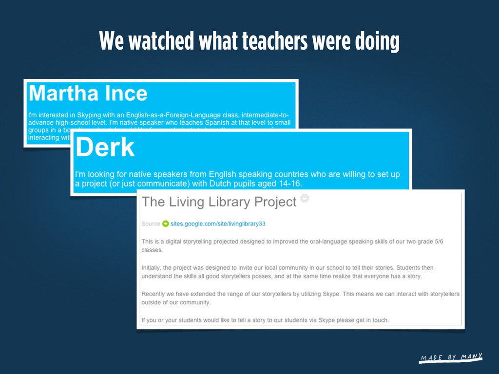 We watched what teachers were doing