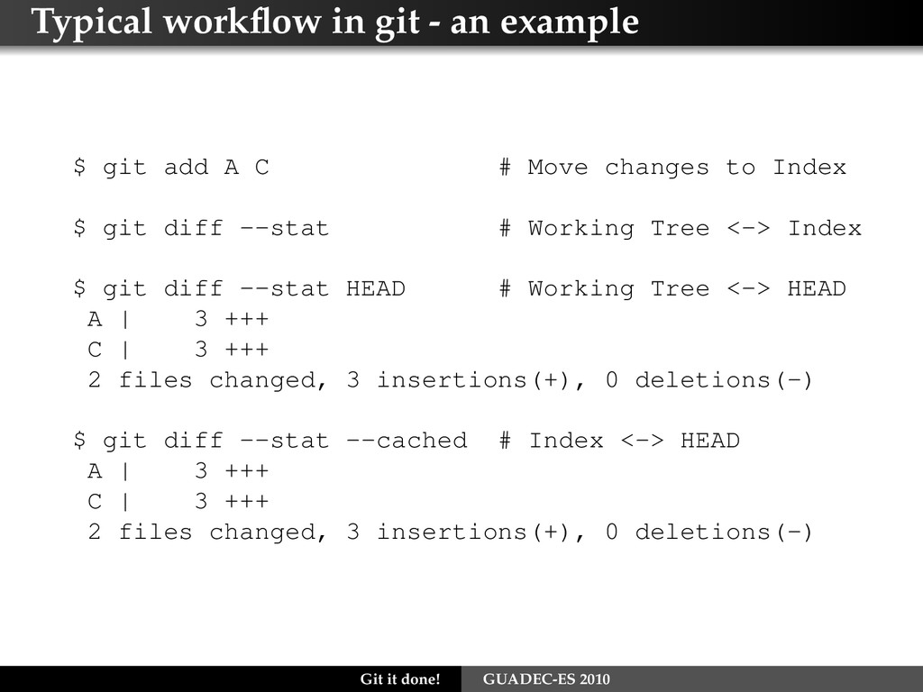 Typical workflow in git - an example $ git add A...