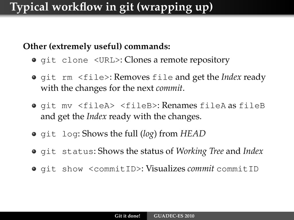 Typical workflow in git (wrapping up) Other (ext...