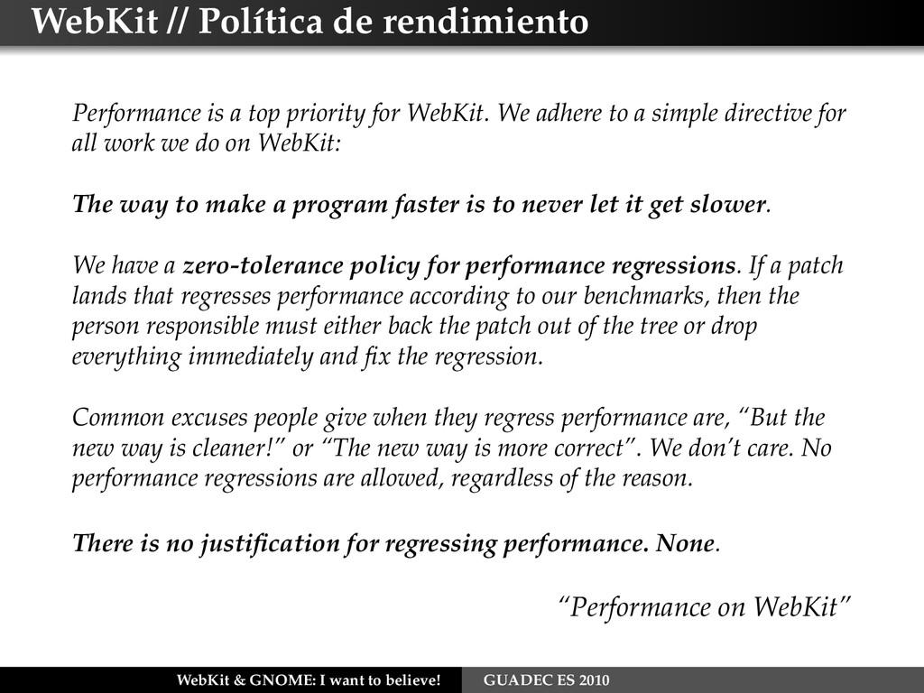 WebKit // Política de rendimiento Performance i...