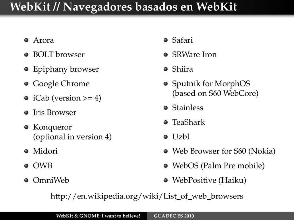 WebKit // Navegadores basados en WebKit Arora B...
