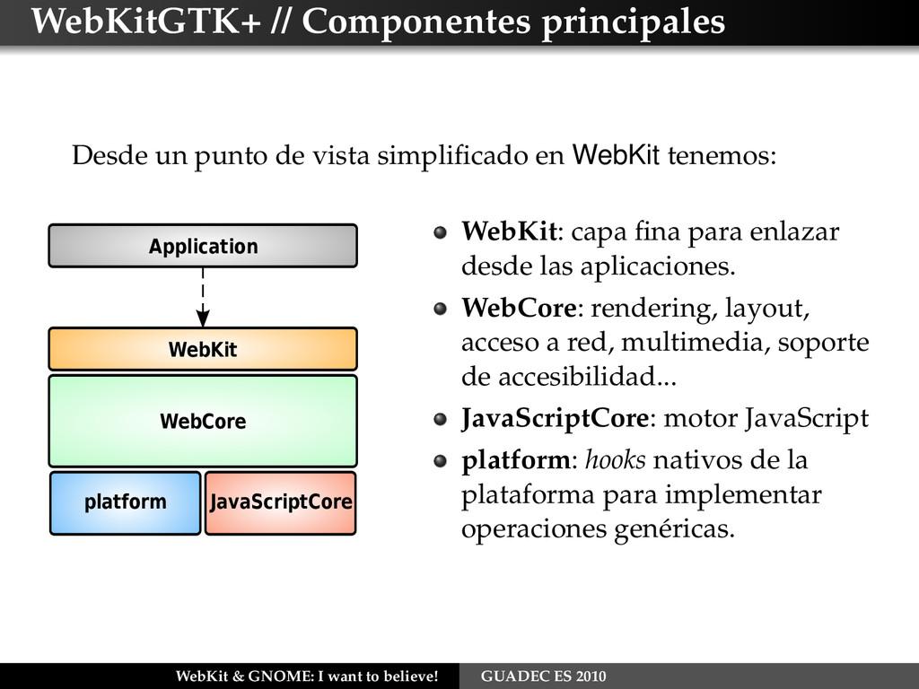 WebKitGTK+ // Componentes principales Desde un ...