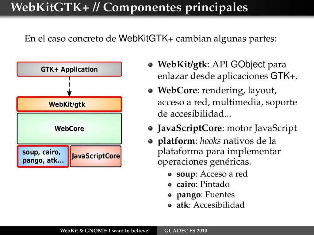 WebKitGTK+ // Componentes principales En el cas...