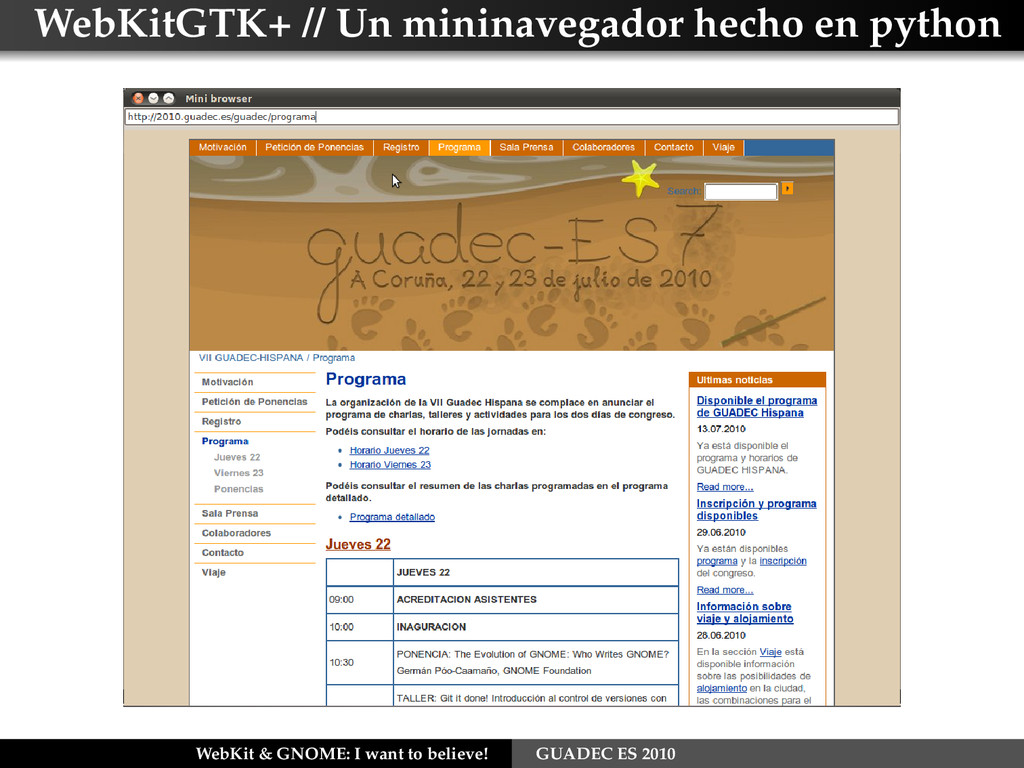 WebKitGTK+ // Un mininavegador hecho en python ...