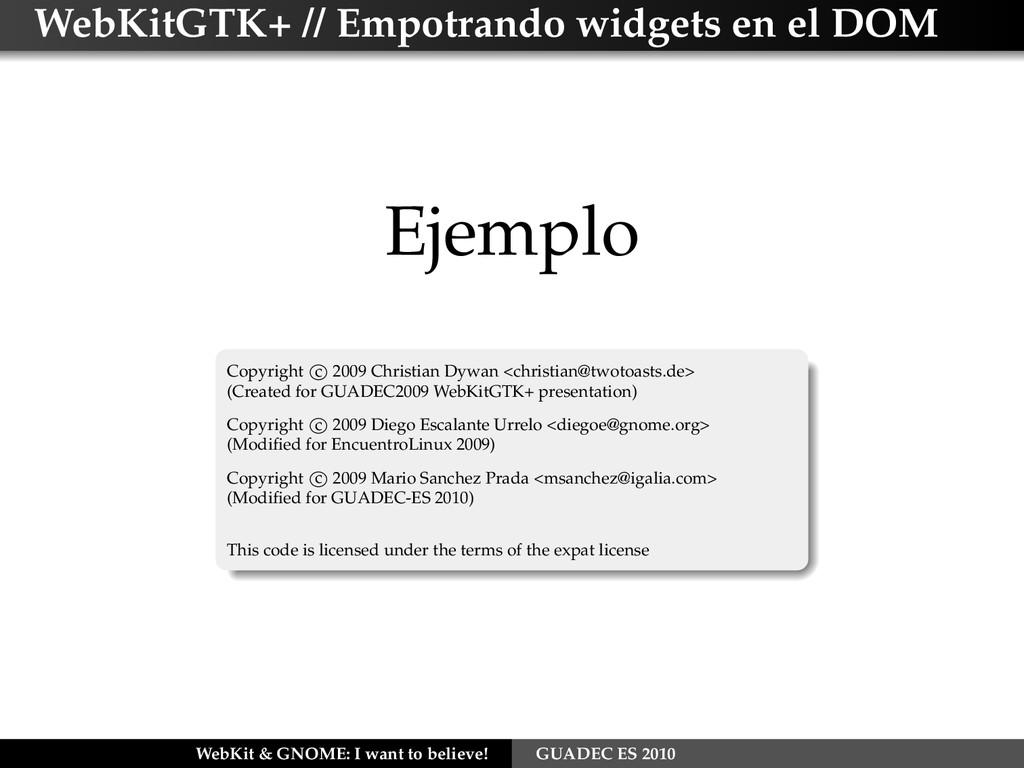 WebKitGTK+ // Empotrando widgets en el DOM Ejem...