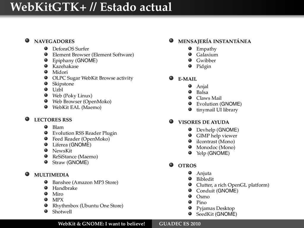 WebKitGTK+ // Estado actual NAVEGADORES DeforaO...