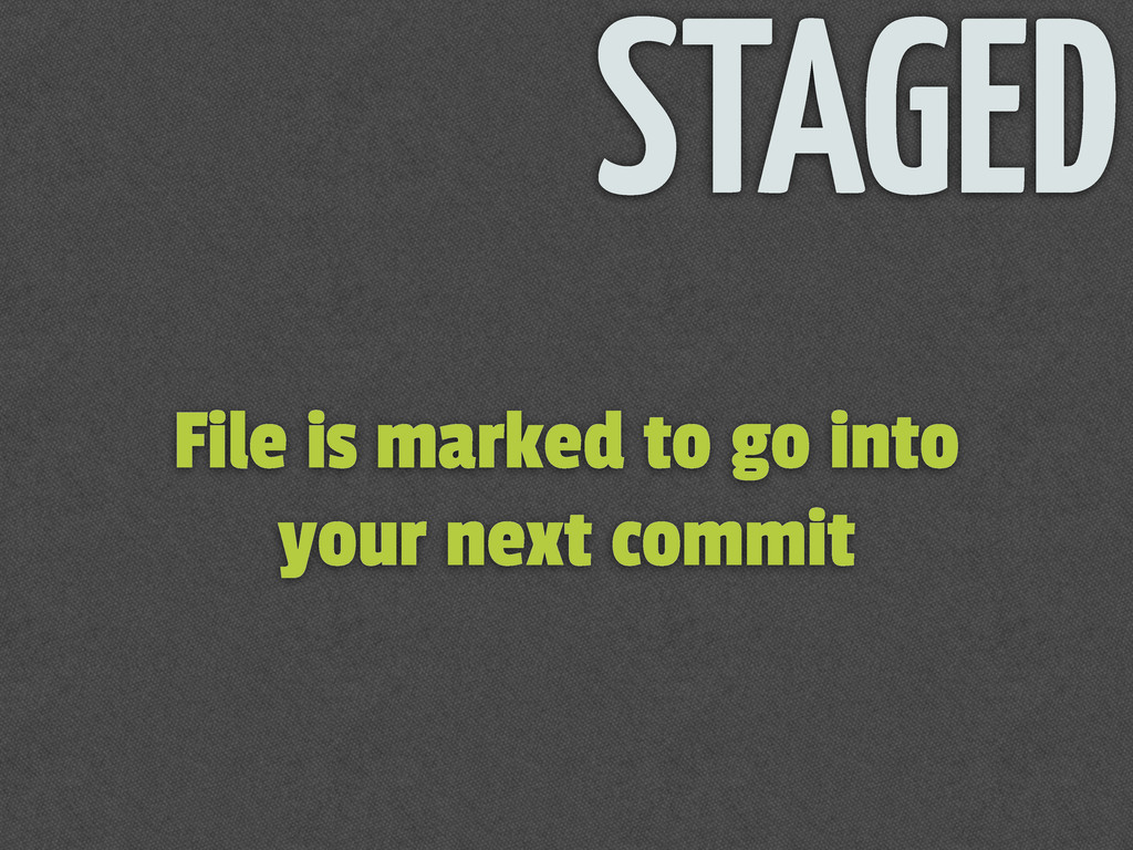 File is marked to go into your next commit STAG...