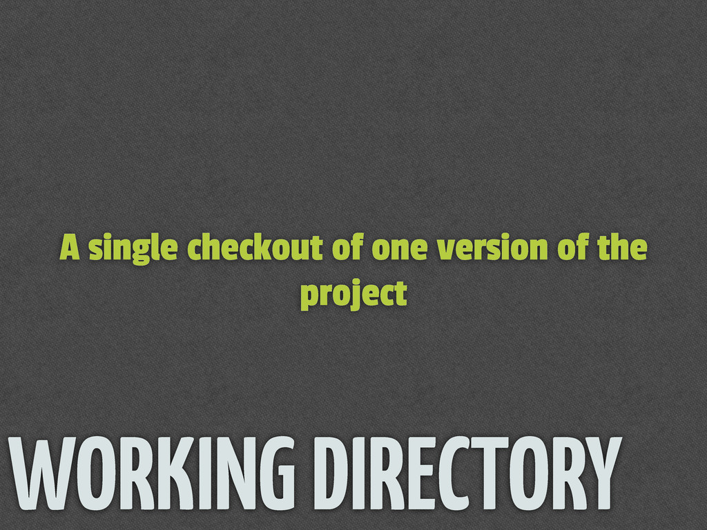 A single checkout of one version of the project...