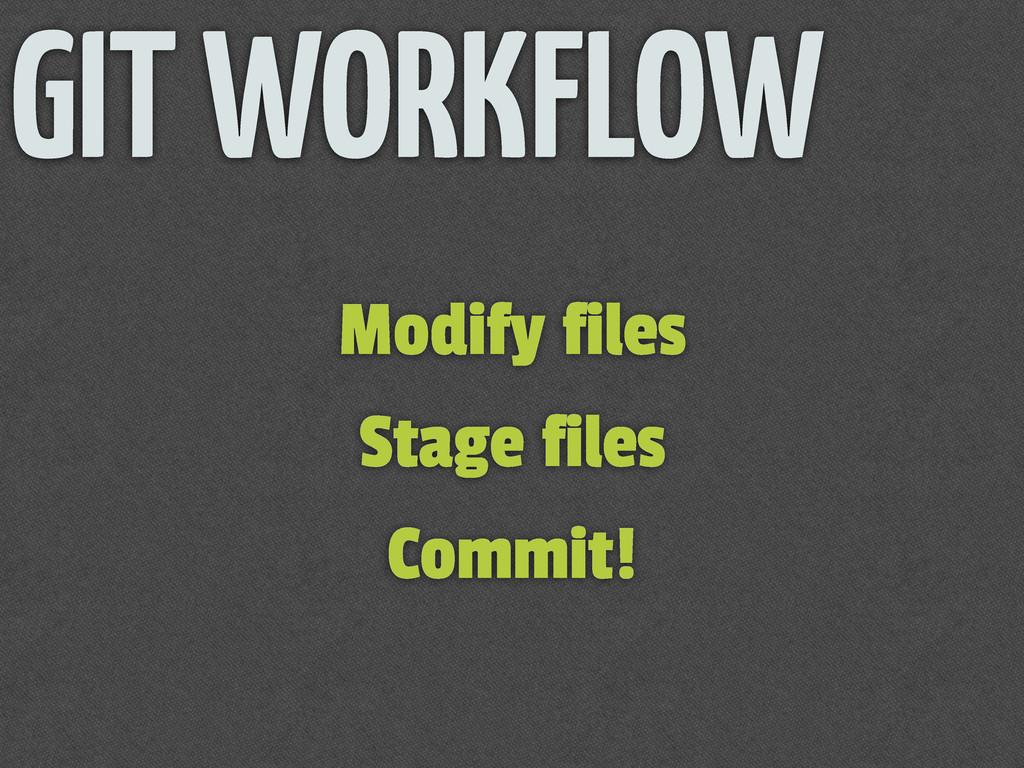 Modify files Stage files Commit! GIT WORKFLOW