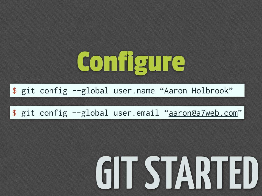 Configure GIT STARTED $ git config --global use...