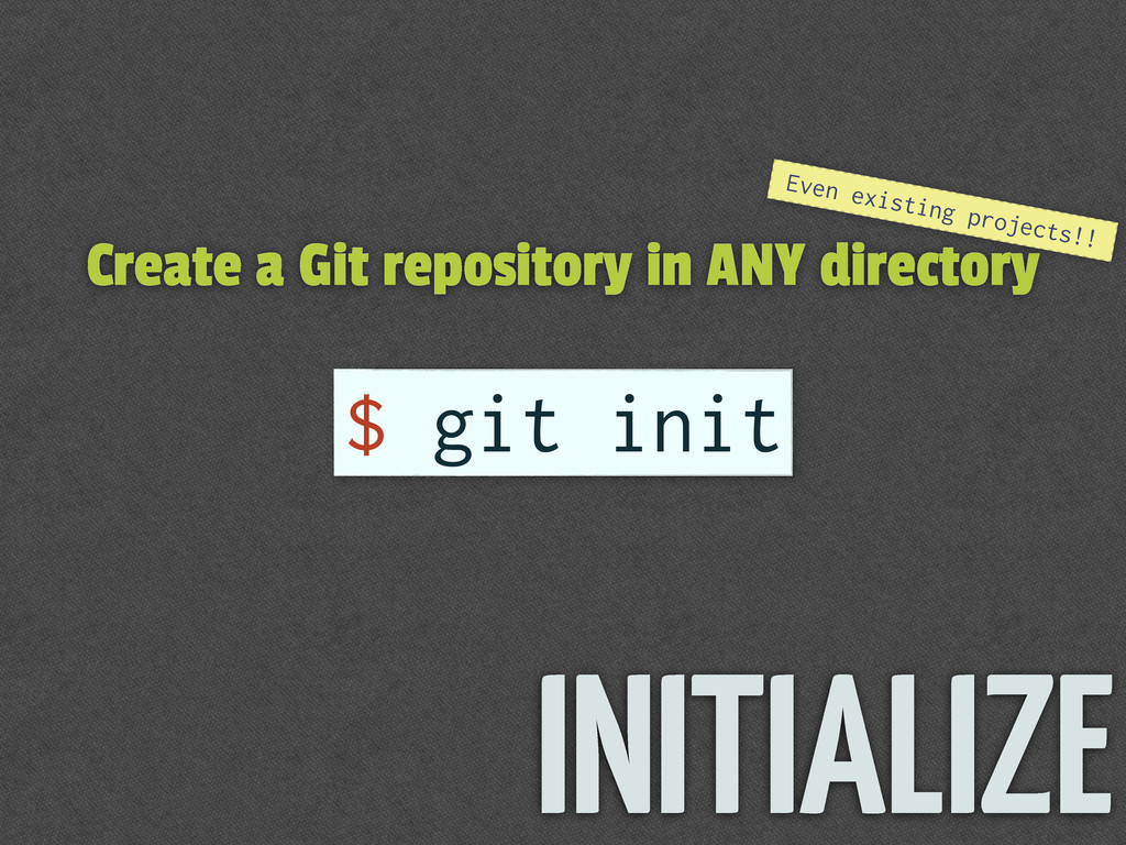 Create a Git repository in ANY directory $ git ...